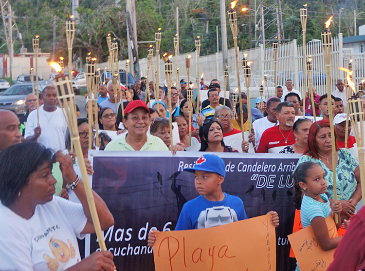 "May 7 protest in Humacao, Puerto Rico, demanding government finally take action to restore electricity 8 months after Hurricane Maria. Protests have had an impact, ""but most of Yabucoa is still without electrical service,"" Lenis Rodríguez told the Militant there. ""We're still fighting."""