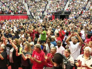 Members of Culinary and Bartenders unions gather May 22 at the Thomas and Mack Center at the University of Nevada, Las Vegas, vote overwhelmingly to authorize strike.