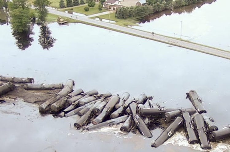 Mandatory evacuations were ordered June 22 after oil train derailment south of Doon, Iowa.