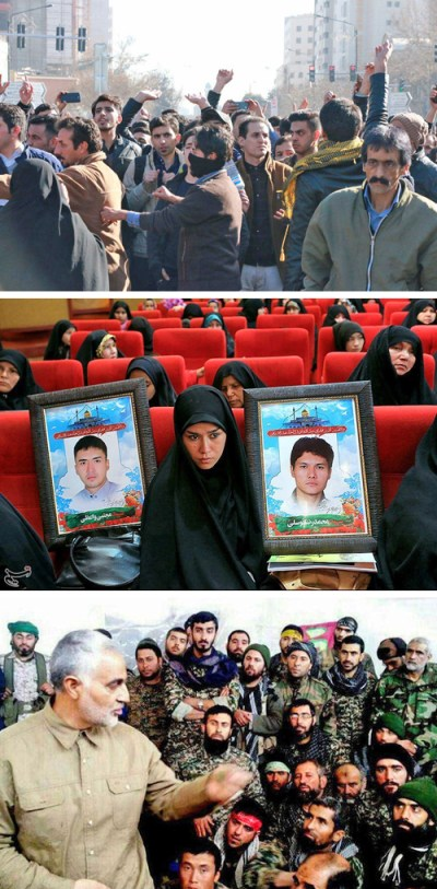 "Protests in December and January were centered in urban workers' quarters, small cities and rural towns across Iran, where the bitter toll hit hardest from mounting deaths and disfigurement during regime's murderous and destructive wars in Syria, Iraq and Yemen. Top, protest in Mashhad, where actions began. Center, Afghan refugee in Iran holds photos of relatives who died in wars. Tehran offers citizenship to families of refugees who ""volunteer."" Bottom, Qasem Soleimani, commander of Iran's Revolutionary Guard Quds Force, addresses militia in Aleppo, Syria, in 2016. No section of the Iranian bourgeoisie has any intention of pulling back from regional wars to defend and preserve their counterrevolutionary regime at home."