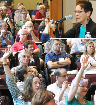 "Inset, SWP leader Mary-Alice Waters at question and answer session, above, on her conference talk, ""Private Property and Women's Oppression: The Working-Class Road to Emancipation."" Hands in air during lively discussion at the session, including an exchange on Waters' explanation that the #MeToo exposés by prominent Hollywood performers are not a step forward in fight for women's emancipation."