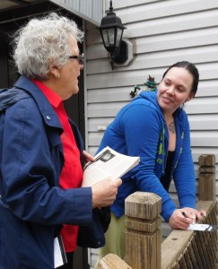 Helen Meyers, left, SWP U.S. Senate candidate in Minnesota, talks with workers going door to door in Maplewood May 12.