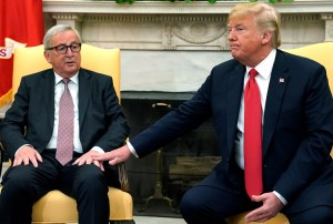 Donald Trump and European Commission President Jean-Claude Juncker talk to press July 25.