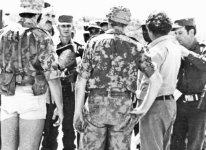"""""""It was understood in Washington that the people would fight and the invasion would be costly,"""" says Cuban Gen. Néstor López Cuba about U.S. rulers' plans to invade Cuba in 1962. Above, López Cuba, third from left in hat, during internationalist mission in Angola 1976."""
