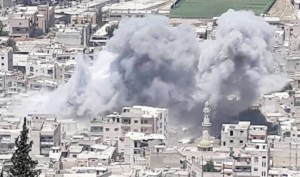 Above, Russian air force bombing of a hospital in Idlib, Syria, during airstrike in June. Inset, rescue workers dig through rubble after the bombing. Thousands of Syrian refugees have been forced to Idlib, only to come under assault once again.