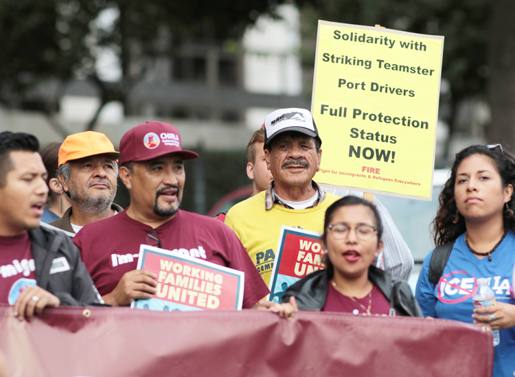 Teamsters at Port of Los Angeles join protest at immigration detention center to support port drivers, warehouse workers, others facing deportation if Temporary Protected Status is ended.