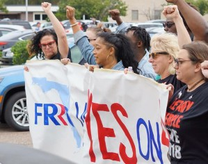 Oct. 27 actions took place across Florida for Amendment 4. Measure won by 64 percent, restoring voting rights to over a million former prisoners, inspiring fights in other states.