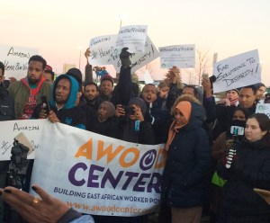Amazon workers and supporters protest outside Shakopee, Minnesota, warehouse Dec. 14.