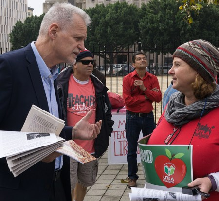 Dennis Richter, Socialist Workers Party candidate for L.A. City Council, joins teachers protest Jan. 18 during strike.