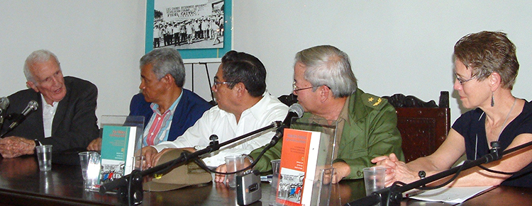 From left Fernández; Chinese-Cuban generals Gustavo Chui, Armando Choy, Moisés Sío Wong, and Socialist Workers Party leader Mary-Alice Waters, presenting Our History Is Still Being Written at Havana International Book Fair, Feb. 6, 2006.