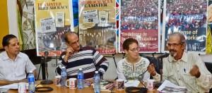 Panel en Feria Internacional del Libro de La Habana, 14 de febrero. Desde izquierda: Róger Calero, quien moderó; Yoel Cordoví, vicepresidente del Instituto de Historia de Cuba; Mary-Alice Waters, Partido Socialista de los Trabajadores y presidenta de Pathfinder; Silvio Jova, miembro del consejo editorial de la revista de la Central de Trabajadores de Cuba.