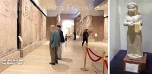 Izquierda, director editorial de Pathfinder Steve Clark (izq.) y Ögmundur Jónsson en galería asiria del Museo Nacional de Iraq. La foto fue puesta online por Amigos del Museo de Iraq el 18 de febrero. Derecha, la única estatua de mujer en las galerias neo-asirias (911-612 A.C.), las cuales tienen masivas estatuas y tallas de reyes y sus sirvientes hombres. El nacimiento de la sociedad dividida en clases degradó el status de la mujer, cuyas imágenes habían sido frequentes en milenios previos.