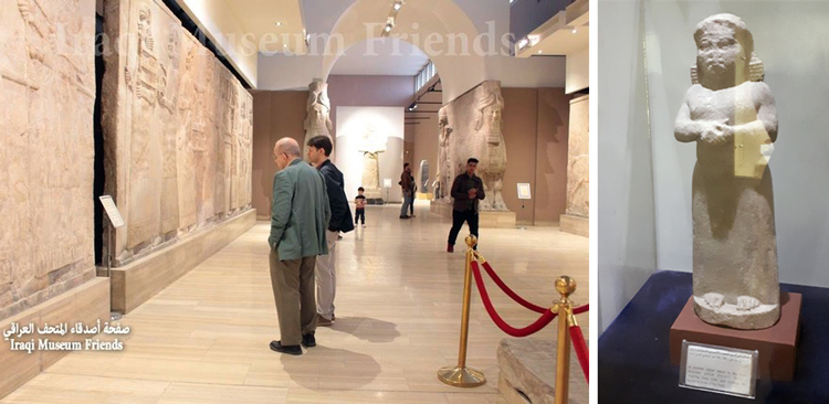 Left, Pathfinder editorial director Steve Clark, left, and Ögmundur Jónsson in Assyrian gallery of Iraq National Museum. Photo posted online by Iraqi Museum Friends, Feb. 18. Right, The only statue of a woman in the Neo-Assyrian galleries (911-612 B.C.), which has massive statues and carvings of kings and their male servants. Rise of class-divided society degraded the status of women, images of whom were frequent millennia earlier.