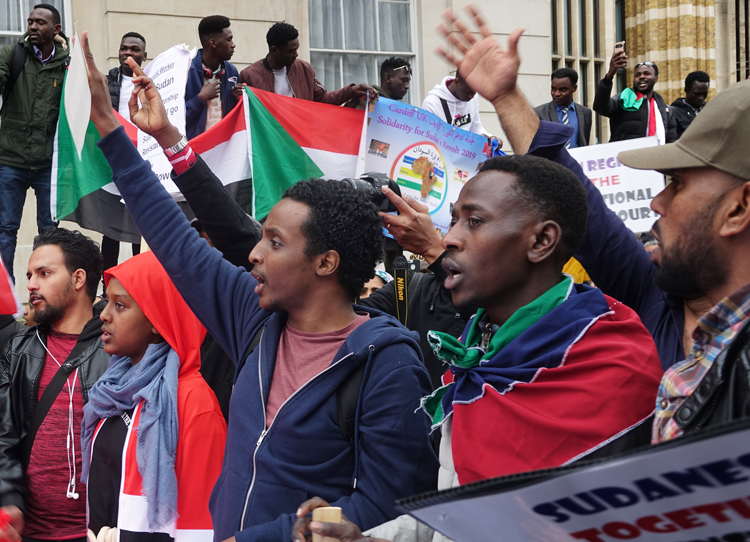 Several thousand protesters in London April 6 demonstrate in solidarity with massive wave of protests across Sudan calling for ouster of regime of President Omar al-Bashir.
