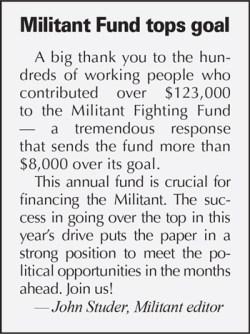 Militant Fund Tops Goal