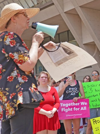 """""""We must not depend on Democrats or Republicans to defend abortion rights,"""" Alyson Kennedy, SWP candidate for Dallas mayor told 100 people at May 25 abortion rights protest."""