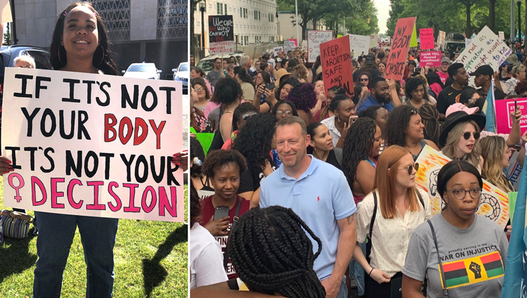 Top Right, 2,000 marched in Birmingham May 19 after Alabama legislature passed strictest anti-abortion bill in the country, and thousands more protested across the state. Nationwide actions were held May 21: top left, Phoenix; Below, Pasadena, California.
