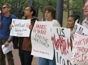 June 24 protest action in Oakland, California, against U.S. threats, sanctions against Iran.