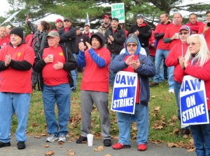 """Mack Truck strikers rally in Macungie, Pennsylvania, Oct. 20, part of 3,600 out on strike. """"The company just thinks about profits,"""" said striker Steve Gerhard. """"The union is our fraternity."""""""