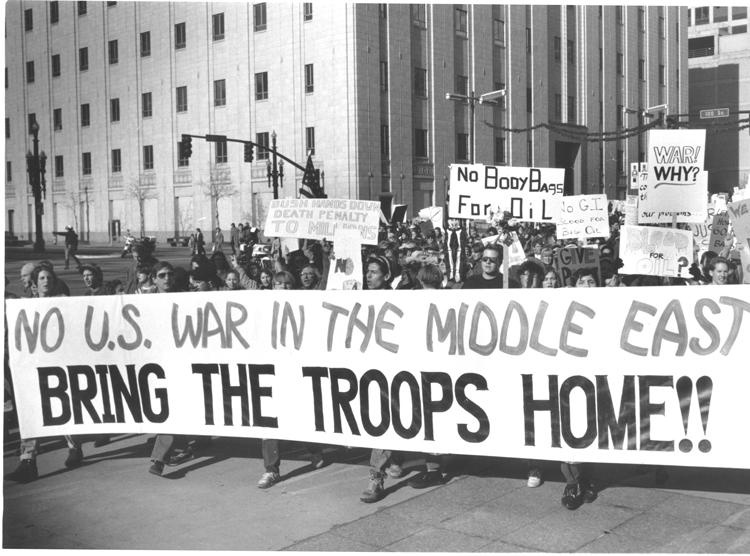 "Protest against coming U.S. war on Iraq Dec. 8, 1990, in Salt Lake City, Utah. U.N. Security Council unanimously backed Washington, except for revolutionary Cuba, which voted ""No."""