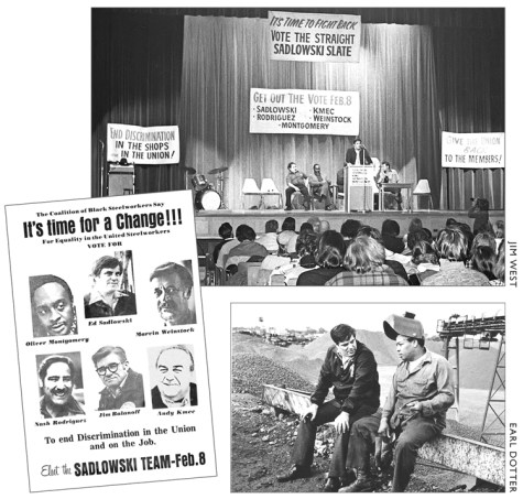 Illustrations from The Turn To Industry: Forging a Proletarian Party of Steelworkers Fight Back campaign led by Ed Sadlowski in USWA, 1977. Campaign was used by ranks to challenge entrenched bureaucracy, fight to combat discrimination, for democratic control of their union.