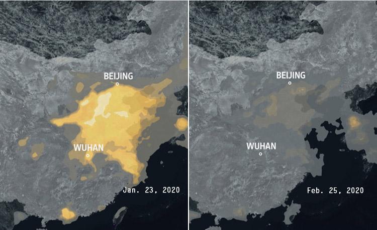 Des images satellites de la NASA montrent la pollution sur la Chine avant les mesures drastiques prises contre le coronavirus, le 23 janvier. Le ciel clair un mois plus tard reflète l'importante baisse de la production industrielle.