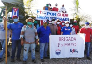 Brigade de travail mise sur pied par les dirigeants syndicaux de la province de Camagüey. Quand la manifestation du 1er mai a été annulée, les volontaires, qui cherchent à défendre leur révolution, ont appelé leur contingent, la Brigade du 1er mai.