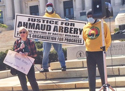 Candace Wagner, Socialist Workers Party candidate for U.S. Congress in New Jersey, speaks at May 13 protest in Newark against vigilante killing of Ahmaud Arbery in Georgia.