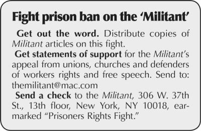 Fight prison ban on 'Militant'