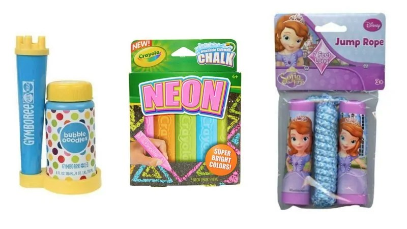 Neon chalk, princess sofia jump rope and gymboree bubbles for toddlers