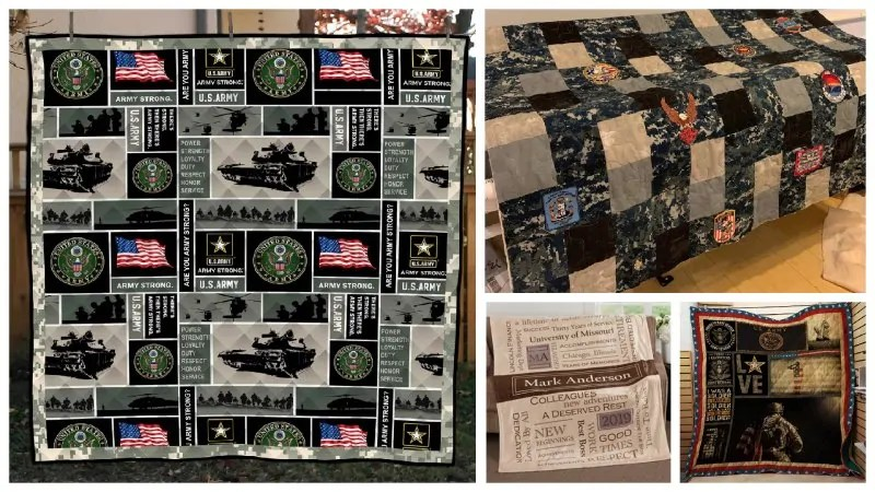 Collage of personalized blankets for military service members.