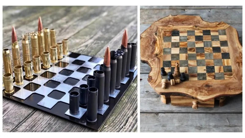 Two custom chess sets - one bullet chess set, one wooden set.