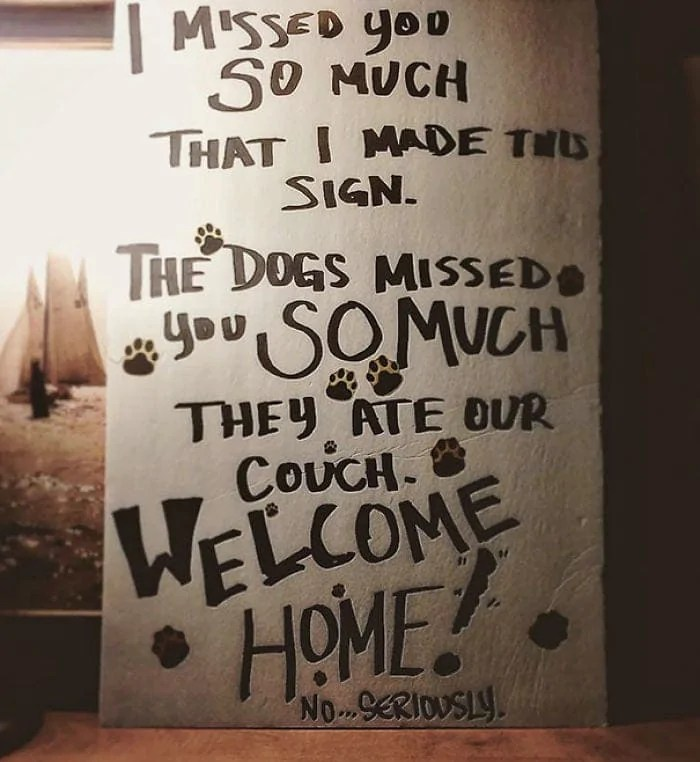 cute welcome home sign