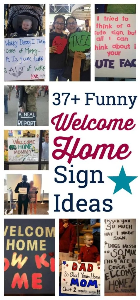 Collage of military welcome home signs