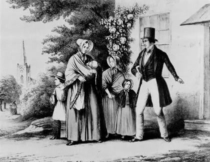 attachment parenting myths, An early American Illustration showing a family on their way to church. Source: http://paxbaby.com/tag/vintage-babywearing-photos/
