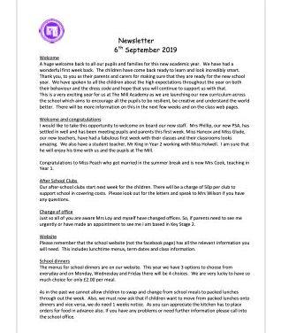 Newsletter 6th September 2020