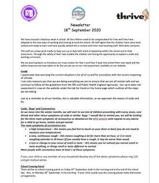 Newsletter 18 September 2020