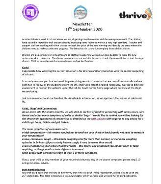 Newsletter 11th September 2020