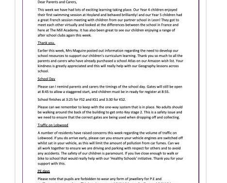 Newsletter 17th September 2021