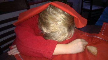 All too much for Euan!! Sound asleep at dinner!