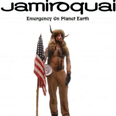 Lo sciamano Jake Angeli come Jamiroquai meme