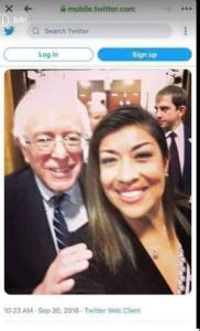 Here's Bernie, getting up close and personal with Lucy Flores, who reviled Joe Biden for a similar hug.