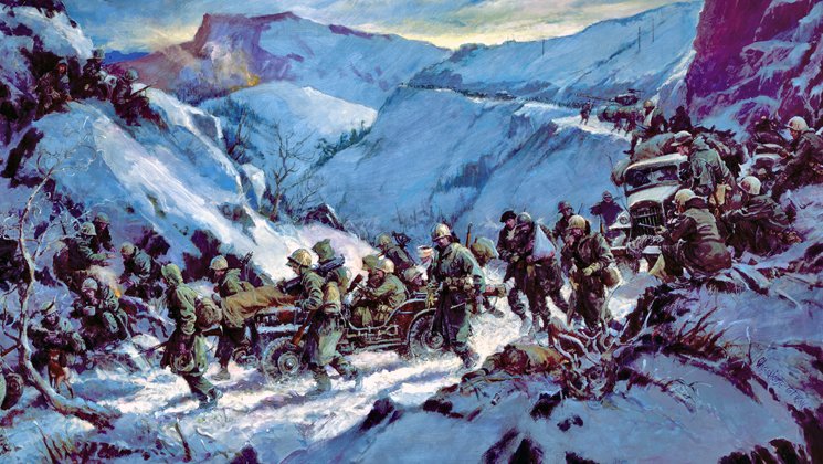 Where the Americans first fought the Chinese- the Chosin Reservoir, North Korea.