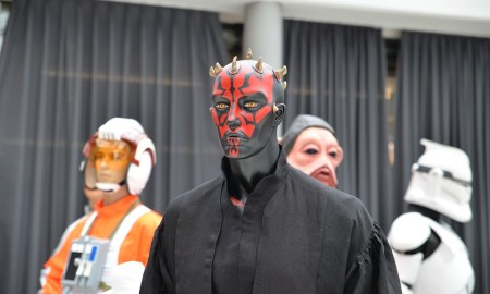 Virgin dressed as Darth Maul scopes out the scene at DragonCon.