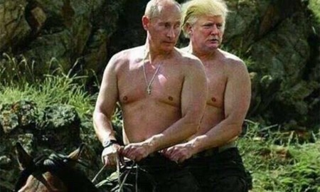 Donald Trump and Vladimir Putin enjoy a nice horseback ride filled with loads of sexual tension.