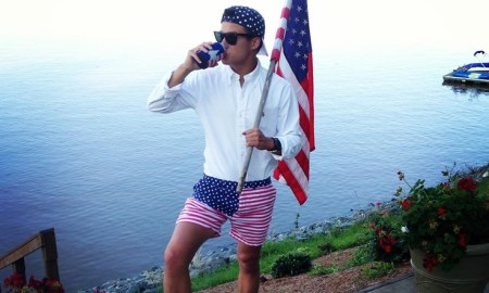 Frat boy disrespects American flag wearing Chubbies shorts.