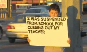 Kid experiences child shaming for cussing out teacher.