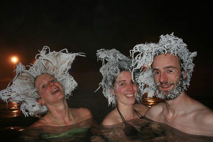 This Canadian Hot Spring has a Hair Freezing Contest Every Winter