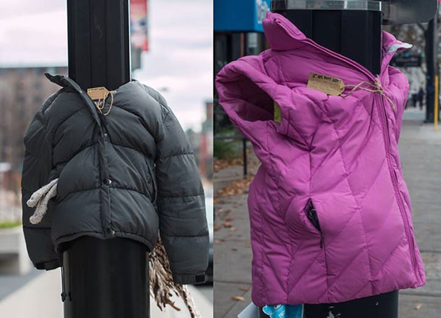 Kids Are Tying Coats to Street Poles for Homeless People to Wear and Stay Warm This Winter