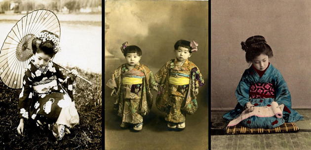 18 Lovely Vintage Pictures Show Japanese Little Girls in Kimonos